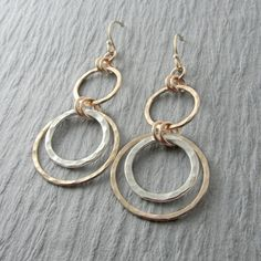 Gold Dangle Earrings Silver And Circle Mixed Metal Gift For Her
