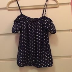 Sheer blue polka dot top Sheer blue polka dot top. Tank top with small sleeves. Size small. Worn once. Iris Basic Tops Blouses