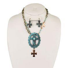 New WESTERN Patina Southwestern CROSS Bronze WOMEN'S Necklace & Earring SET