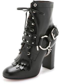 Aquazzura | Black Rockstar Leather Harness Boots | Lyst