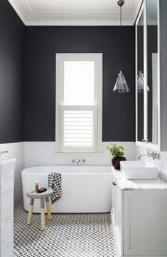 Small Bathroom Ideas In Black And White Patterned bathroom floor tiles are all the rage these days. One of the most fun places to use patterned bathroom floor tiles is in a bathroom. Bathroom Floor Tiles, Bathroom Renos, Bathroom Interior, Remodel Bathroom, Bathroom Colors, Bathroom Renovations, Bathroom Faucets, Bathroom Mirrors, Basement Bathroom