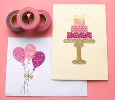 Washi tape cards (Tip: apply tape strips to parchment paper, cut, die cut or punch shape, peel off parchment paper backing) Homemade Birthday Cards, Diy Birthday, Homemade Cards, Happy Birthday, Birthday Card Pictures, Washi Tape Cards, Masking Tape, Easy Valentine Crafts, Handmade Envelopes