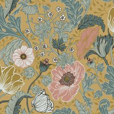 Rose poppies, fluffy white tulips, and darling daisies blossom from curling vines in this ornate floral wallpaper. Its painterly design is complete with a rich mustard background. Anemone is an unpasted, non woven wallpaper. Mustard Wallpaper, 4 Wallpaper, Botanical Wallpaper, Flower Wallpaper, Wallpaper Backgrounds, Wallpaper Designs, Floral Wallpapers, Beautiful Wallpaper, Wallpaper Lounge