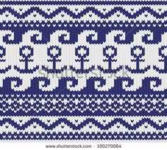 Seamless knitted marine pattern . EPS 8 vector illustration. - stock vector