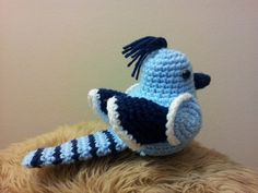 This Amigurumi crochet blue jay is just cute and perfect choice for a decoration and a gift for any occasion. He sits approx. 5 tall with a 4 tail.