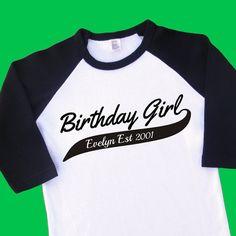 Birthday Girl Established Personalized T Shirt Raglan Onesie Romper Sport Team Baseball Softball Football