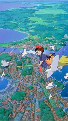 Studio Ghibli's Kiki's Delivery Service Totoro, Studio Ghibli Art, Studio Ghibli Movies, Animes Wallpapers, Cute Wallpapers, Personajes Studio Ghibli, Studio Ghibli Background, Animation, Anime Scenery