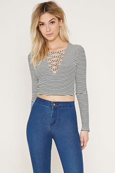 Stripe Crisscross Crop Top | Forever 21 - 2000152472