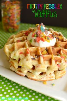 Fruity Pebbles Waffles - Little Dairy On the Prairie