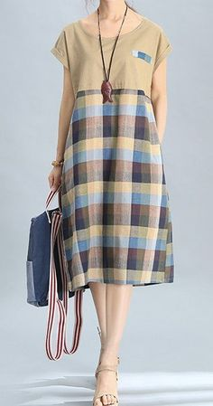Women loose fit over plus size retro checkers plaid dress pocket tunic pregnant #Unbranded #dress #Casual