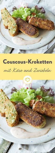 Diese Kroketten sind schnell in der Pfanne knusprig gebraten und überzeugen mit… These croquettes are quickly fried in the pan and convince with finely seasoned couscous as a base. Veggie Recipes, Vegetarian Recipes, Snack Recipes, Healthy Recipes, Snacks, Cooking Recipes, Clean Eating Recipes, Soul Food, Finger Foods