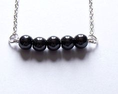 Hematite necklace-silver plated handmade necklace. Minimalist design/bar necklace. Christmas/birthday gift, Silver black jewelry.