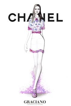 #CHANEL SPRING 2015 #PFW by #GRACIANOfashionillustration