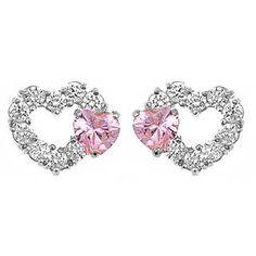 14K White Gold Pink Heart on Open Heart Kids Earrings from The Jewelry Vine