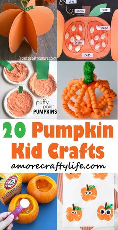Pumpkin Kid Crafts - Celebrate Fun Fall Activities - A More Crafty Life #preschool #kidscrafts #craftsforkids #fall #kindergarten