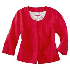 Merona® Women's Cropped Linen Blazer - Red Rave, $34.99.  Beautiful jacket for a night breeze.