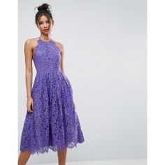 ASOS Lace Pinny Scallop Edge Prom Midi Dress (145 CAD) ❤ liked on Polyvore featuring dresses, purple, purple prom dresses, purple dress, lace party dresses, scalloped lace dresses and high-neck lace dresses