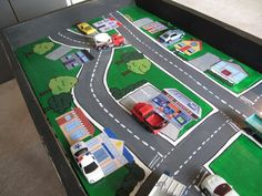 matchbox car play table hand painted diy