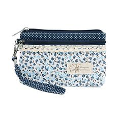 New Wristlets Damara Womens Floral Dotted Versatile Canvas Wallet,Blue