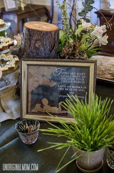 Children's Book Baby Shower by @Meredith @ unOriginal Mom Book quotes, trees, gender neutral shower inspiration.  #vintage #rustic