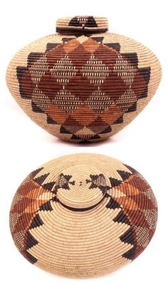 Africa | 'Isichumo' basket by Zulu basket weaver, Laurentia Dlamini | Palm fronds, wrapped around coils of wild grass. Natural dyes