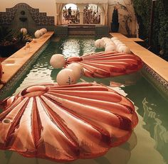Pink sea shell pool float
