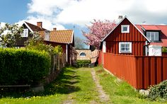 Old picturesque Kivik in Österlen, Skåne, Sweden Iceland Island, Red Cottage, Finland, Norway, Shed, Outdoor Structures, Cabin, House Styles, Swedish Recipes