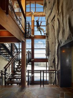 Gorgeous Montana retreat with timeless design. Hmm, indoor rock climbing, I can take it or leave it!