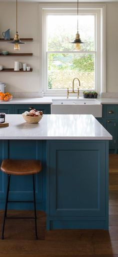 Pair statement teal cabinets with brass vintage lights for the ultimate kitchen look! 📸 Image Credit: Inglis Hall & Co. Teal Cabinets, Blue Kitchen Cabinets, Kitchen Chairs, Kitchen Decor, Barn Kitchen, Kitchen Grey, Cozy Kitchen, Brown Kitchens, Small Kitchens