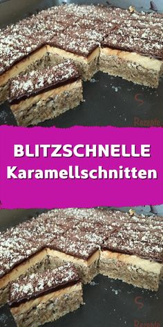 Einfache Karamellschnitten die ich in wenigen Minuten fertig hatte. Ein himmlisc… Simple caramel cuts that I had in a few minutes. A heavenly taste and an irresistible good caramel cream – I can recommend this cake! Homemade Cake Recipes, Easy Cookie Recipes, Dessert Recipes, Mini Desserts, Biscuits Au Caramel, Chocolate Cake Recipe Easy, New Cake, Recipe For 4, Food Cakes