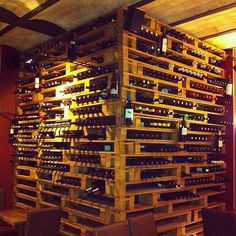 Gorgeous wine racks made entirely out of empty wooden pallets!