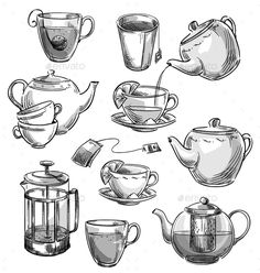 Kitchen Utensils Sketch Design 55 Ideas For 2019 Tea Cup Drawing, Drawing Sketches, Art Drawings, Food Sketch, Object Drawing, Teapots And Cups, Food Drawing, Sketch Design, Art Plastique