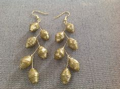 Olive green and gold paper bead earrings by MagdaCrafts on Etsy, £9.00