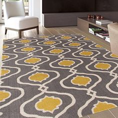"Moraccan Trellis Modern Gray/Yellow Area Rug 7' 10"" X 10'..."