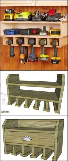 DIY Cordless Drill Storage And Charging Station diyprojects. This wall-mounted cordless drill storage will help keep the entire workshop looking clean and organized. It also serves as the char (Diy Furniture Storage) Woodworking Projects Diy, Woodworking Plans, Woodworking Furniture, Popular Woodworking, Woodworking Shop, Woodworking Classes, Woodworking Techniques, Woodworking Workshop, Garage Storage