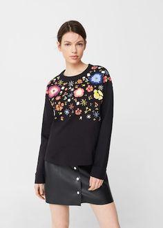 Bluza z kwiatowym haftem - Bluzy dla Kobieta | MANGO Polska