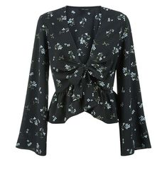Black Floral Tie Front Flared Sleeve Top | New Look