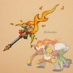 "Pokeapon Fusion - Infernape & Roserade. Weapon name: ""燃えるバラ"" Requested by @rad_the_galaxy_giraffe Pokemon Rpg, Pokemon Gijinka, Pokemon Pins, All Pokemon, Pokemon Fusion, Pokemon Games, Digimon, Fantasy Weapons, Anime"