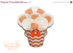ON SALE Orange and White Chevron Lollipop by EdibleWeddings, $19.99