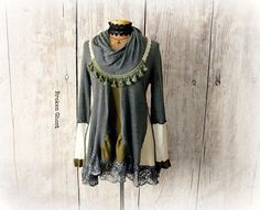 Gray Cowl Sweater Artsy Boho Tunic Up Cycled Clothing Winter
