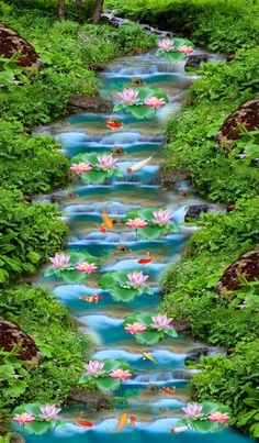 Beautiful River Flowers 565 Stair Risers is part of Stair risers - Beautiful Landscape Wallpaper, Beautiful Landscape Photography, Beautiful Flowers Wallpapers, Beautiful Landscapes, Beautiful Paintings, Nature Photography, Nature Paintings, Landscape Paintings, Beautiful Scenery Pictures