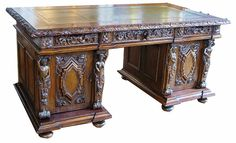 Carved Victorian desk/12 - The Swan Antiques dealers Oxfordshire