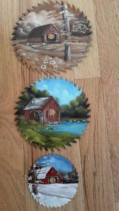 Three hand painted saw blades
