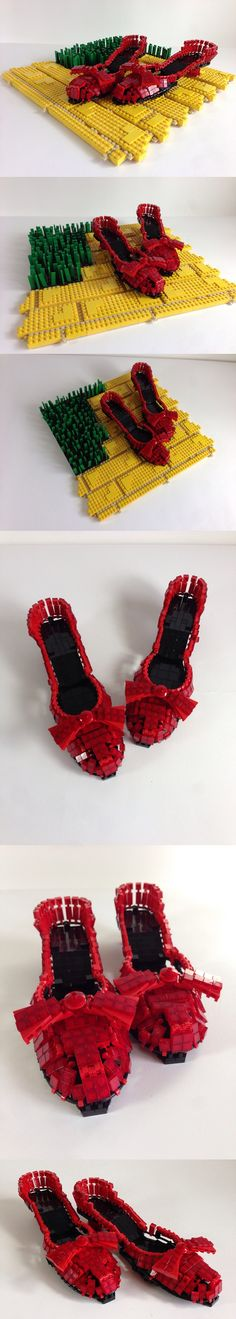 LEGO Ruby Slippers - Life-size ruby slippers made entirely out of LEGO #LEGO #slippers