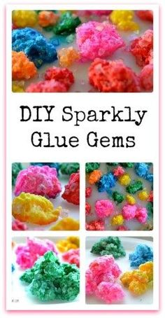 """Easy recipe to make gems and jewels for play and learning. Needs only 3 ingredients! The green one is so """"emerald-like"""" Use them as treasures for play, to study gem formation, or for sensory play! Preschool Science, Science For Kids, Art For Kids, Science Fun, Teaching Science, Sensory Activities, Sensory Play, Preschool Activities, Pirate Activities"""