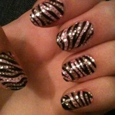 Did My Zebra Nails Again<3 Their Pink This Time:)