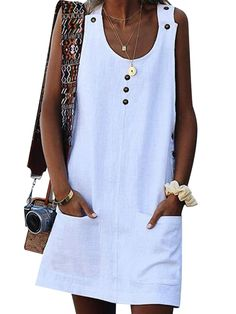 Women's Dresses – Print/Floral Sleeveless Shift Above Knee Casual Dresses - 2019 Mode Look Fashion, Fashion Outfits, Fashion Styles, White Fashion, 50 Fashion, Cheap Fashion, Fashion Trends, Dress Fashion, Fashion Women