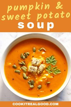 Easy Pumpkin & Sweet Potato Soup is the perfect winter warmer! Roasting the pumpkin first gives it amazing depth of flavour. Pumpkin Sweet Potato Soup, Roast Pumpkin Soup, Sweet Soup, Healty Dinner, Healthy Dinner Recipes, Whole30 Recipes, Kebabs, Kitchen Recipes, Cooking Recipes