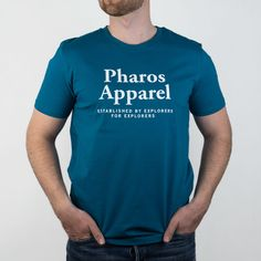 Slim fit T-shirt with Established by Explorers for Explorers graphics  Made in Slovakia Slim fit 100% organic cotton Soft-touch jersey Model wears Medium size and is 184cm tall Feel Good, Preppy, Organic Cotton, How To Make, How To Wear, Graphics, Slim, Turquoise, Touch