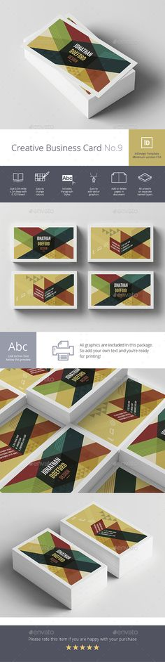Creative Business Card Design template No.9 - Creative Business Card Template InDesign INDD. Download here: https://graphicriver.net/item/creative-business-card-no9/17016963?s_rank=48&ref=yinkira